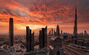 Dubai-skyscrapers-red-sky-clouds-sunset_1920x1200